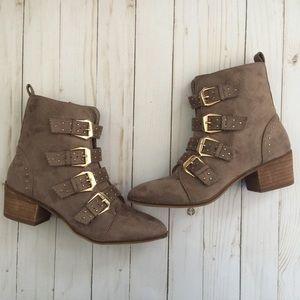 NIB Catherine Malandrino Taupe Suede Patsy Boots